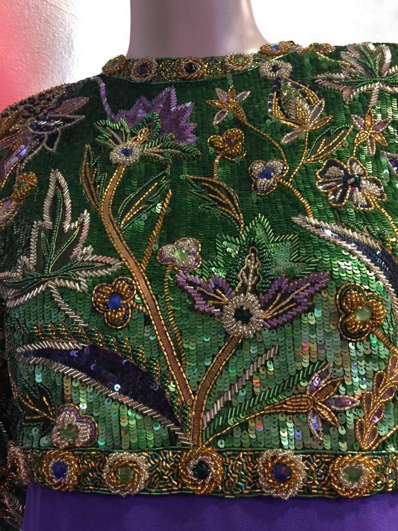 1980s Oscar de La Renta Beaded Floral Motif Attached Bolero w Purple Crepe Gown 7