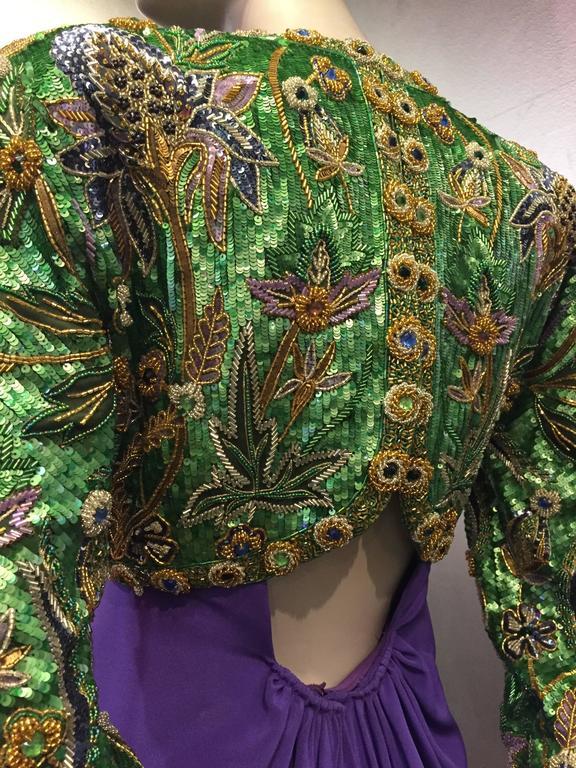 1980s Oscar de La Renta Beaded Floral Motif Attached Bolero w Purple Crepe Gown 8