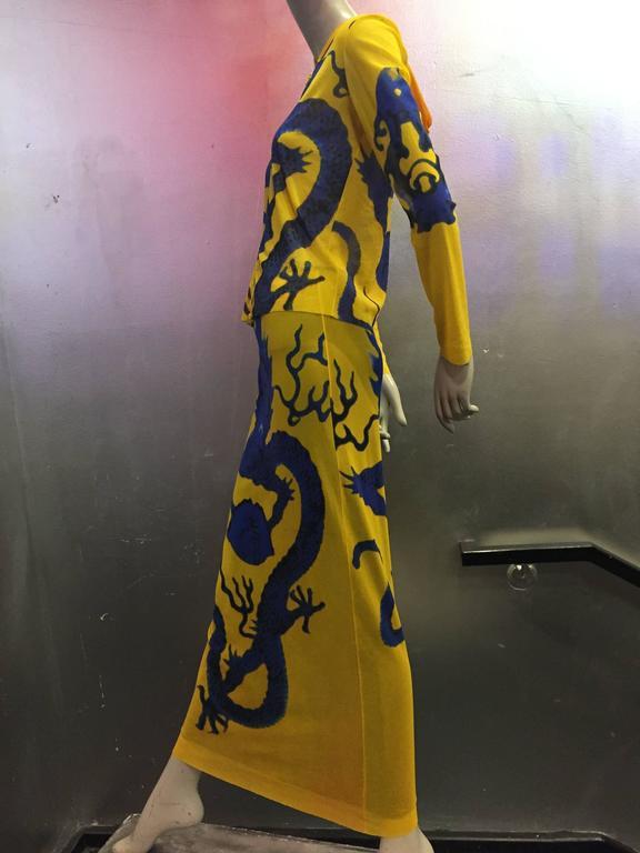 Vivienne Tam Yellow Printed Mesh Dragon Ensemble  2