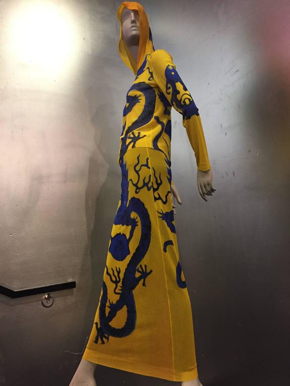 Vivienne Tam Yellow Printed Mesh Dragon Ensemble  5