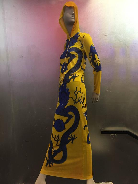 Vivienne Tam Yellow Printed Mesh Dragon Ensemble  7