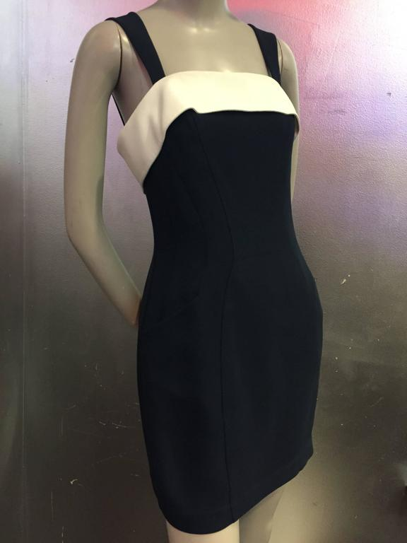 """1980s Thierry Mugler 2-Piece """"Sailor-Styled"""" Navy Dress w Cream Cropped Jacket 7"""