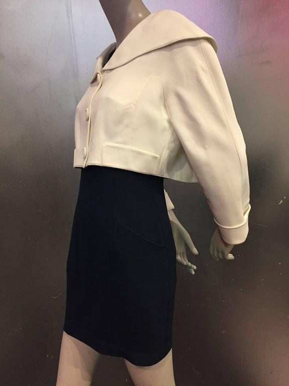 """1980s Thierry Mugler 2-Piece """"Sailor-Styled"""" Navy Dress w Cream Cropped Jacket 4"""