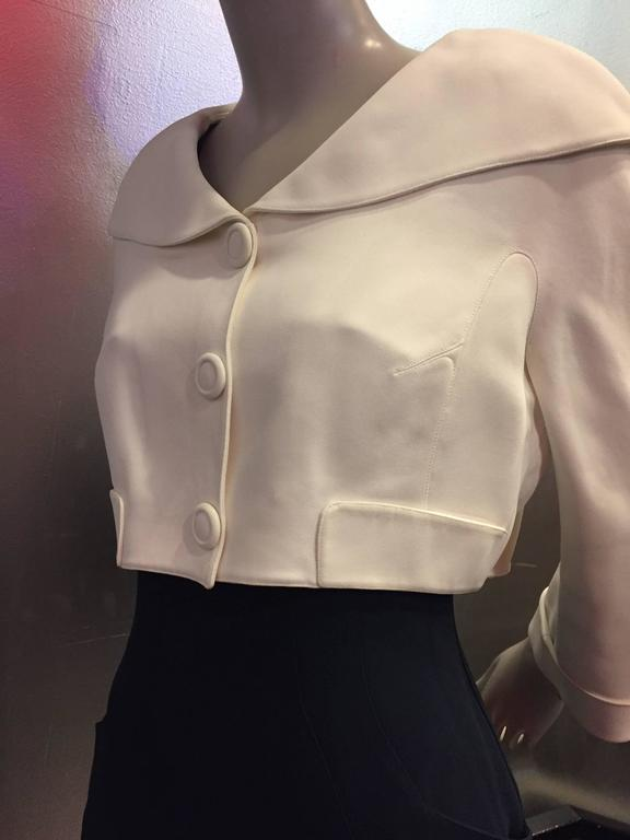 """1980s Thierry Mugler 2-Piece """"Sailor-Styled"""" Navy Dress w Cream Cropped Jacket 6"""