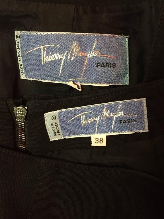 "1980s Iconic Thierry Mugler ""Wasp Woman"" Gabardine Suit w ""Lightning"" Hem 7"