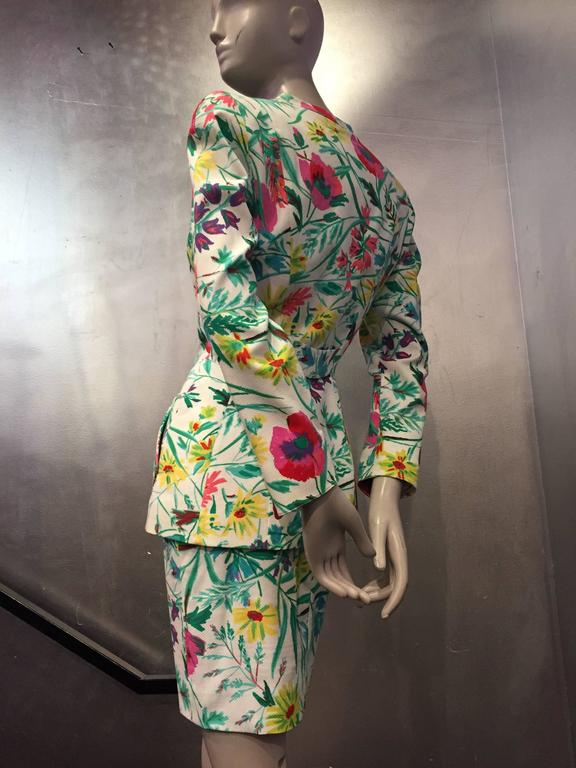 1980s Thierry Mugler 3-Piece Floral Print Sculptured Mini Skirt Suit w Blouse 5