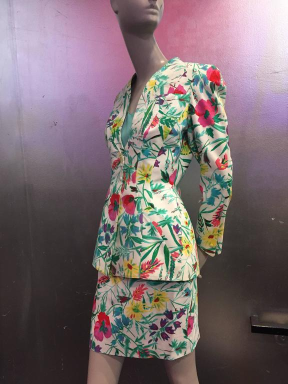 1980s Thierry Mugler 3-Piece Floral Print Sculptured Mini Skirt Suit w Blouse 2