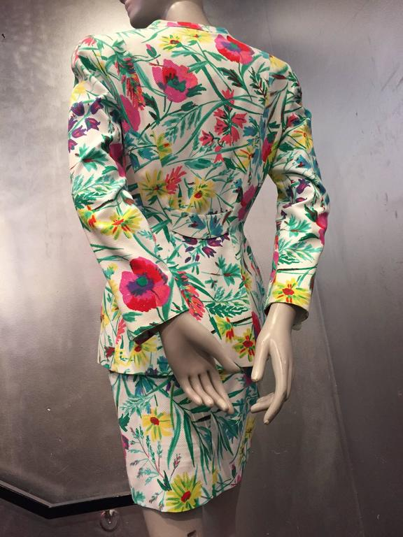1980s Thierry Mugler 3-Piece Floral Print Sculptured Mini Skirt Suit w Blouse 7