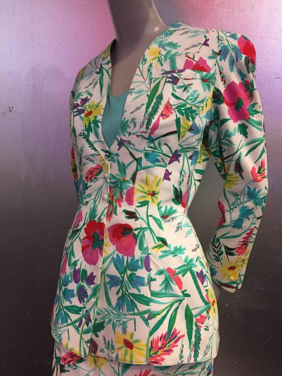 1980s Thierry Mugler 3-Piece Floral Print Sculptured Mini Skirt Suit w Blouse 8