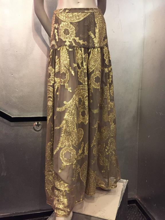 Brown Late 1970s Saint Laurent Taupe Silk and Gold Lamé Paisley Patterned Maxi Skirt For Sale