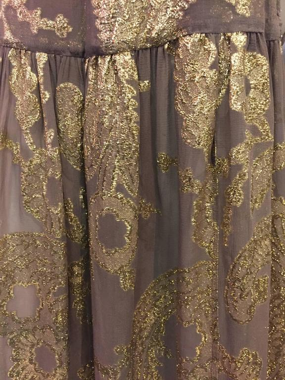 Late 1970s Saint Laurent Taupe Silk and Gold Lamé Paisley Patterned Maxi Skirt In Excellent Condition For Sale In San Francisco, CA