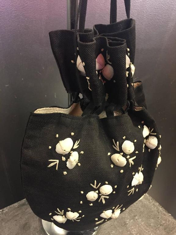 Women's 1950's Black Straw Pouch Bag with White Seashells  For Sale