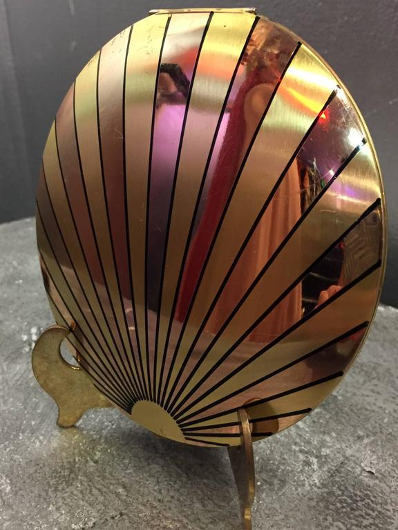 Brown 1940's Art Deco Inspired Rose Gold & Brass Sun Ray Motif Compact  For Sale
