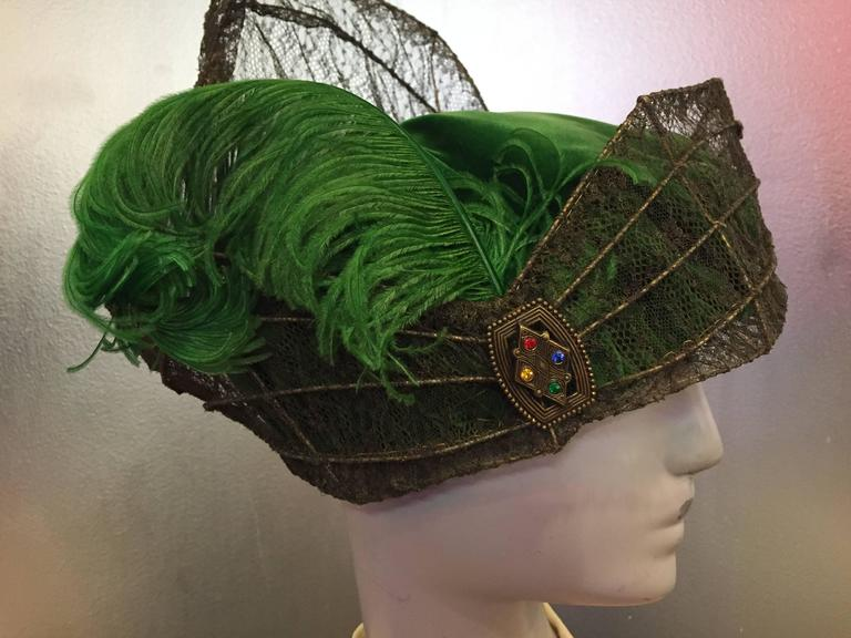 """Women's or Men's """"Majestic"""" Edwardian Couture Constructed Gold Lame Lace & Green Velvet Hat  For Sale"""