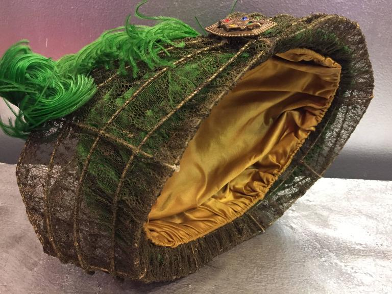 """""""Majestic"""" Edwardian Couture Constructed Gold Lame Lace & Green Velvet Hat  For Sale 1"""