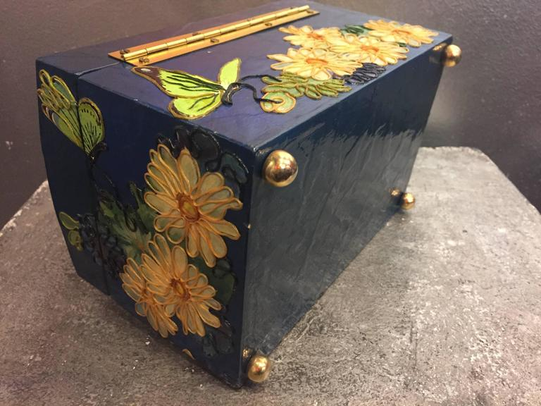 1960s Wooden Box Purse w Painted and Applied Flowers & Butterflies  5