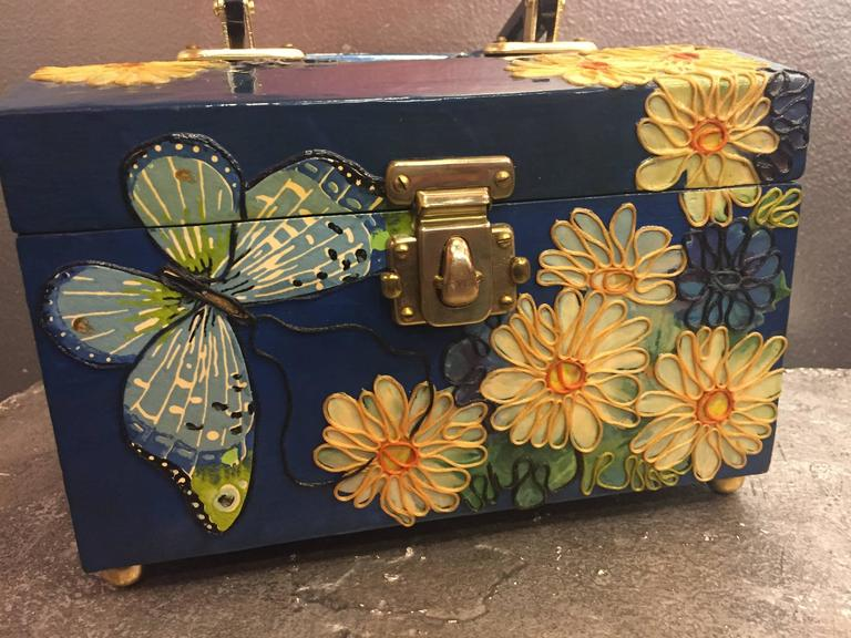 1960s Wooden Box Purse w Painted and Applied Flowers & Butterflies  For Sale 1