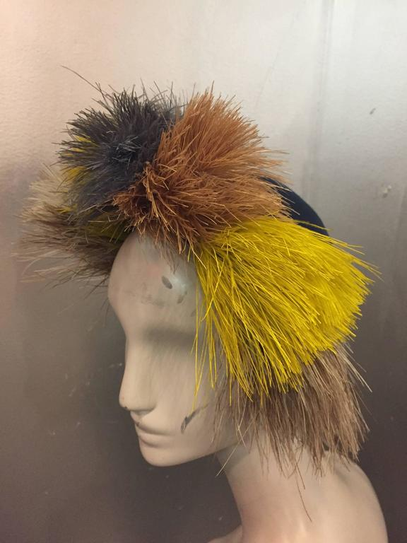 Brown 1940's Bes-Ben Slate Blue Felt Hat w Crown of Multi-Color Feathers  For Sale