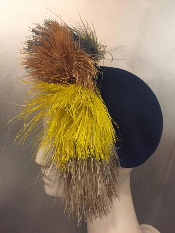 1940's Bes-Ben Slate Blue Felt Hat w Crown of Multi-Color Feathers  In Excellent Condition For Sale In San Francisco, CA