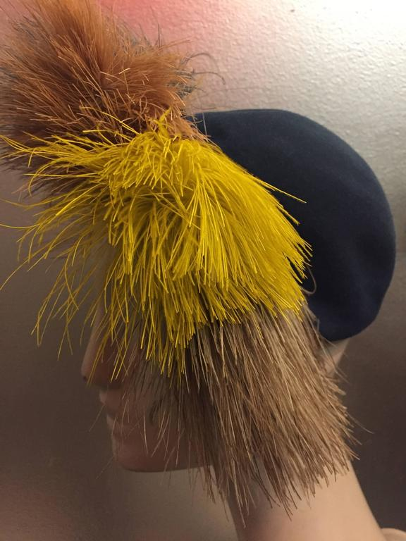 1940's Bes-Ben Slate Blue Felt Hat w Crown of Multi-Color Feathers  For Sale 1