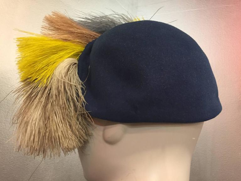 1940's Bes-Ben Slate Blue Felt Hat w Crown of Multi-Color Feathers  For Sale 3