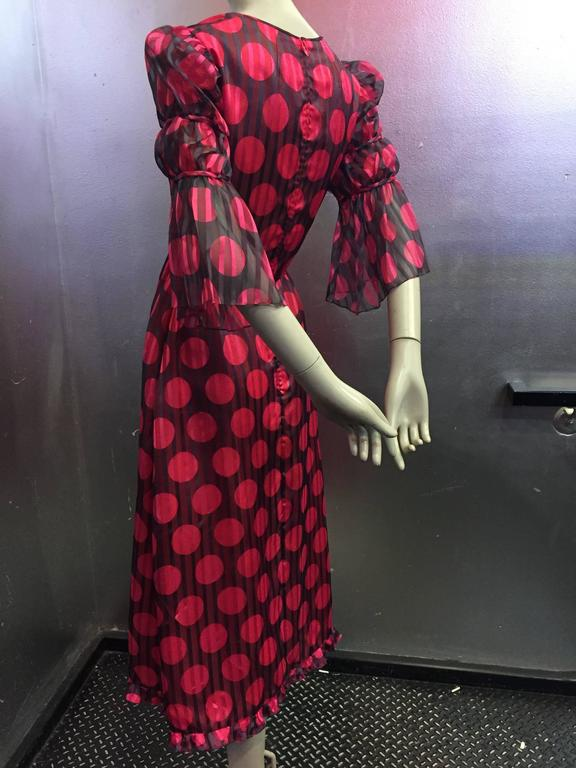 1960's Sarmi Polka Dot Silk Juliette Sleeve Midi Dress   6