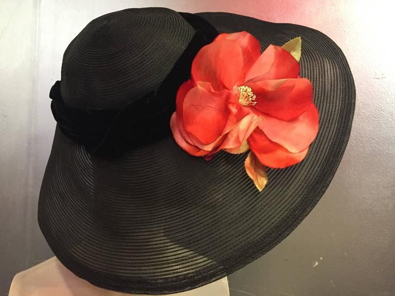 Women's 1950's Noreen Black Sheer Wide Brim Hat w/ Red Poppy & Braided Velvet Band