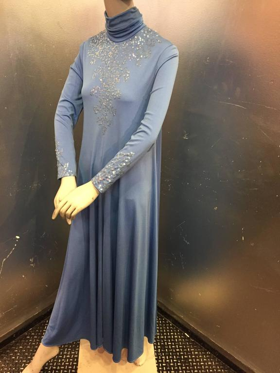 1970s Liquid Blue Jersey Maxi Dress w Sequined Bodice and High Neck 2