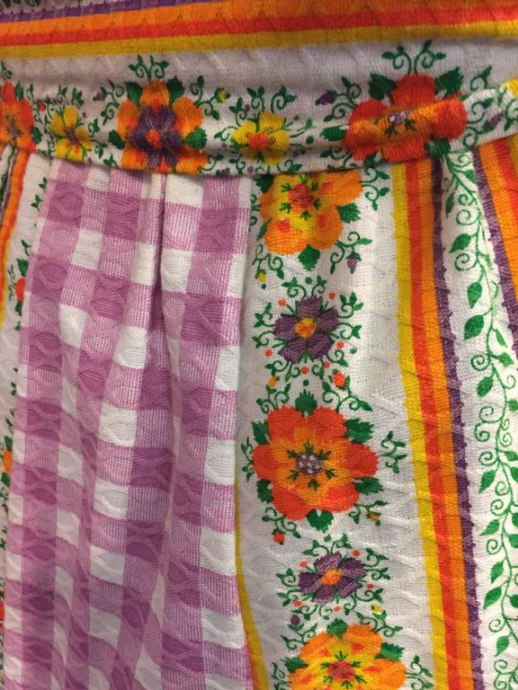 1970's Chessa Davis Folkloric Peasant Quilted Maxi Skirt  5