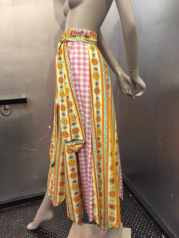 1970's Chessa Davis Folkloric Peasant Quilted Maxi Skirt  2