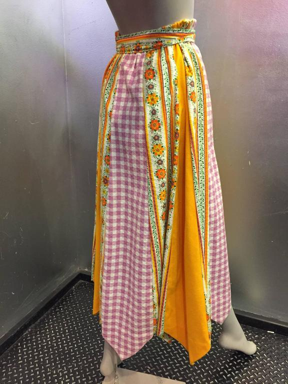 1970's Chessa Davis Folkloric Peasant Quilted Maxi Skirt  4