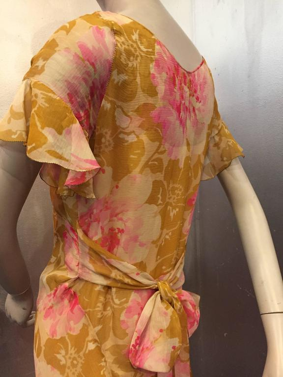 1930's Spring Floral Print Silk Chiffon Tea Dress 4
