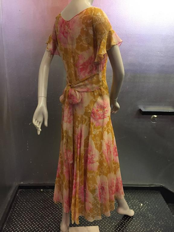 1930's Spring Floral Print Silk Chiffon Tea Dress 3