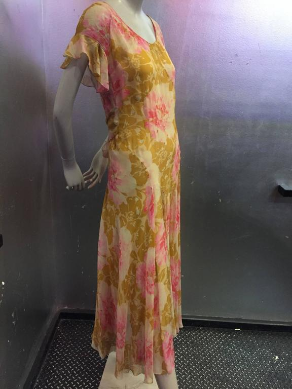 1930's Spring Floral Print Silk Chiffon Tea Dress 2