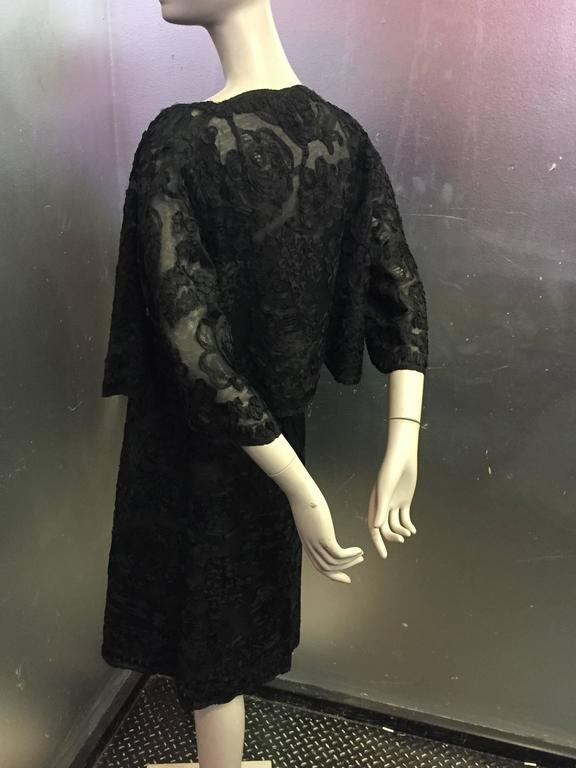 1961 Christian Dior Numbered Couture Black Lace Ensemble  In Excellent Condition For Sale In San Francisco, CA