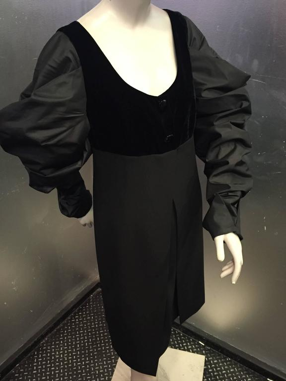 "1980s Gianfranco Ferre Black Cocktail Dress w Sheer ""V"" Back & Silk Puff Sleeves 2"