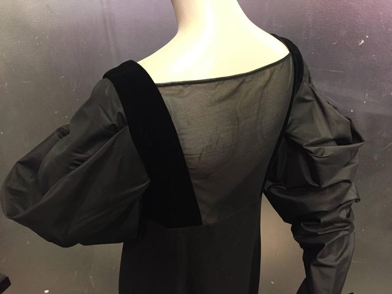 "1980s Gianfranco Ferre Black Cocktail Dress w Sheer ""V"" Back & Silk Puff Sleeves 6"