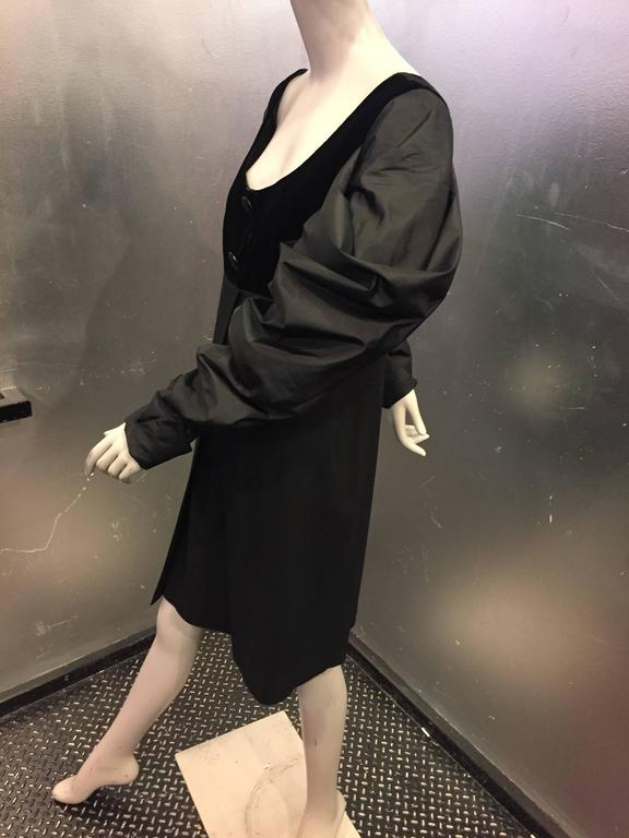 "1980s Gianfranco Ferre Black Cocktail Dress w Sheer ""V"" Back & Silk Puff Sleeves 4"