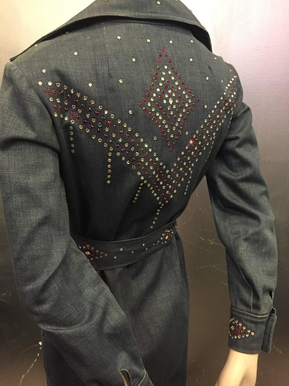 1970's Rhinestone Studded Denim Maxi Coat Dress  3