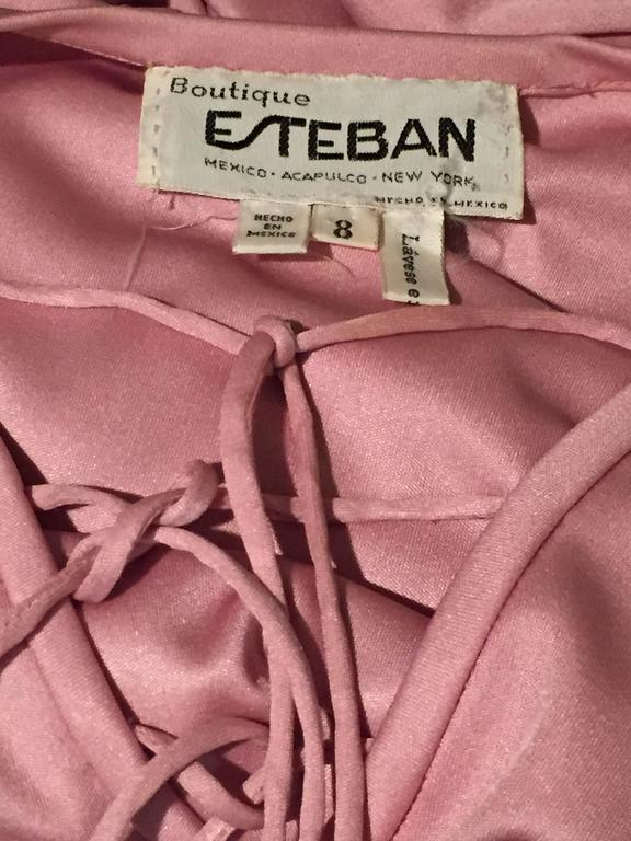 Women's 1970s Esteban Rose Pink Silk Jersey Disco Maxi w Lace Up Detail For Sale
