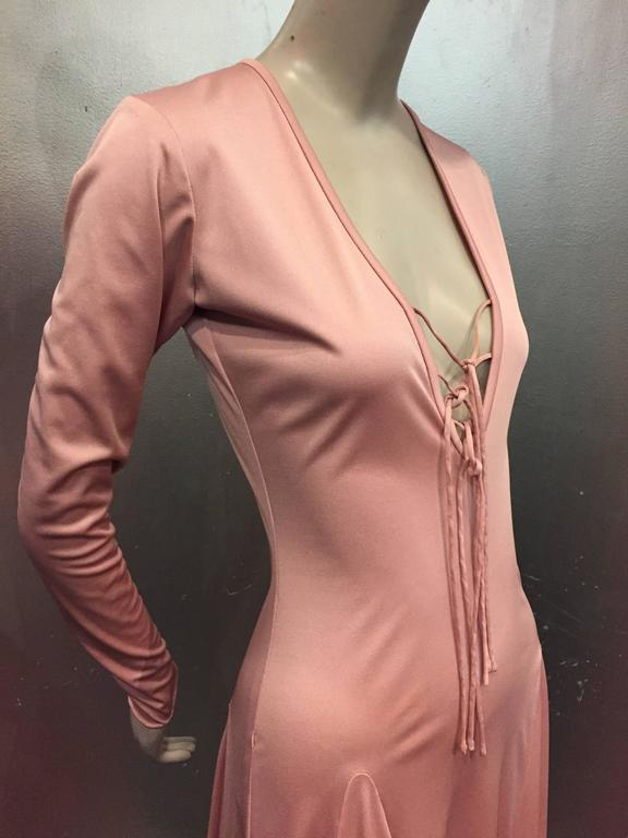 1970s Esteban Rose Pink Silk Jersey Disco Maxi w Lace Up Detail 3