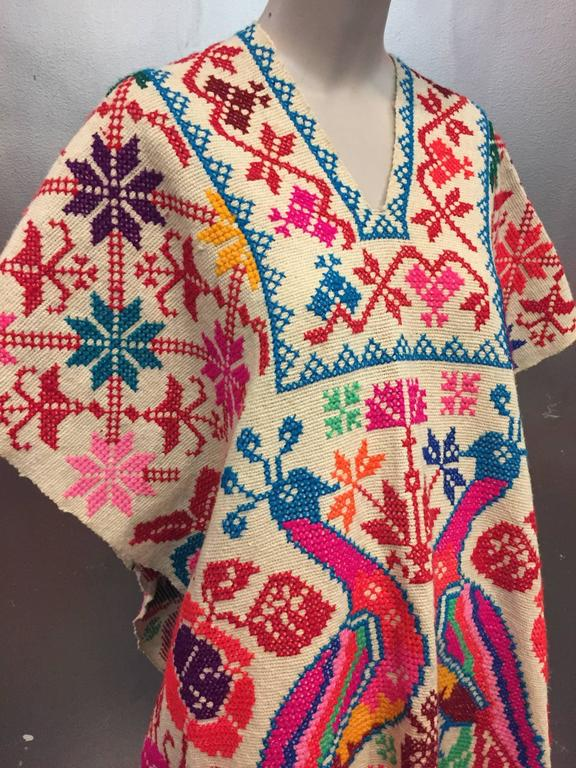 1970's Folkloric Fluorescent Embroidered Poncho with Peacock Motif  4