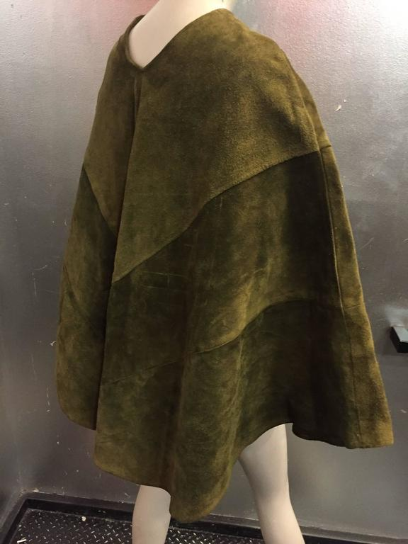 1960's Olive Tone Suede Poncho with Embroidered Flowers  3