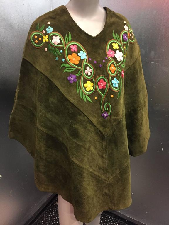 1960's Olive Tone Suede Poncho with Embroidered Flowers  2