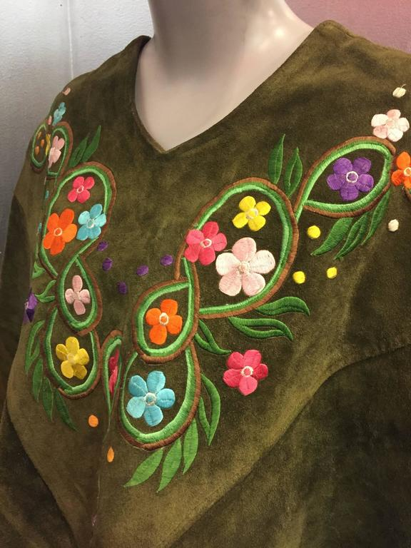 1960's Olive Tone Suede Poncho with Embroidered Flowers  4
