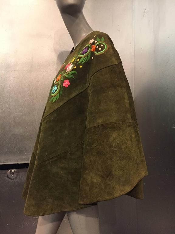 1960's Olive Tone Suede Poncho with Embroidered Flowers  5