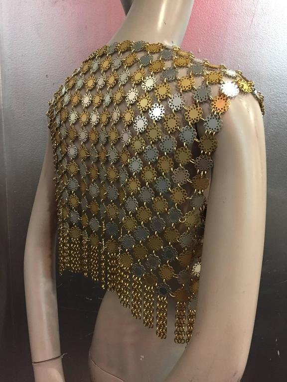 1960's Paco Rabanne Chain Metal Mod Flowers Fringed Vest  3