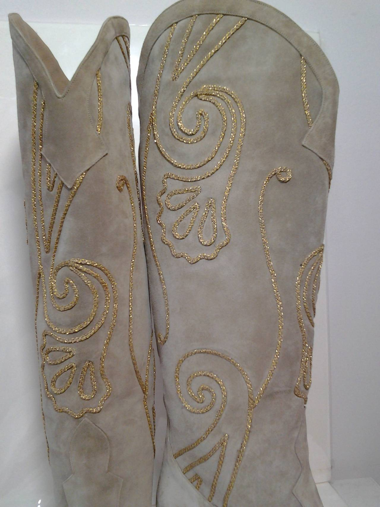 Gray 1980s Andrea Pfister Taupe Suede Western Boots w/ Gold Soutache Braid For Sale