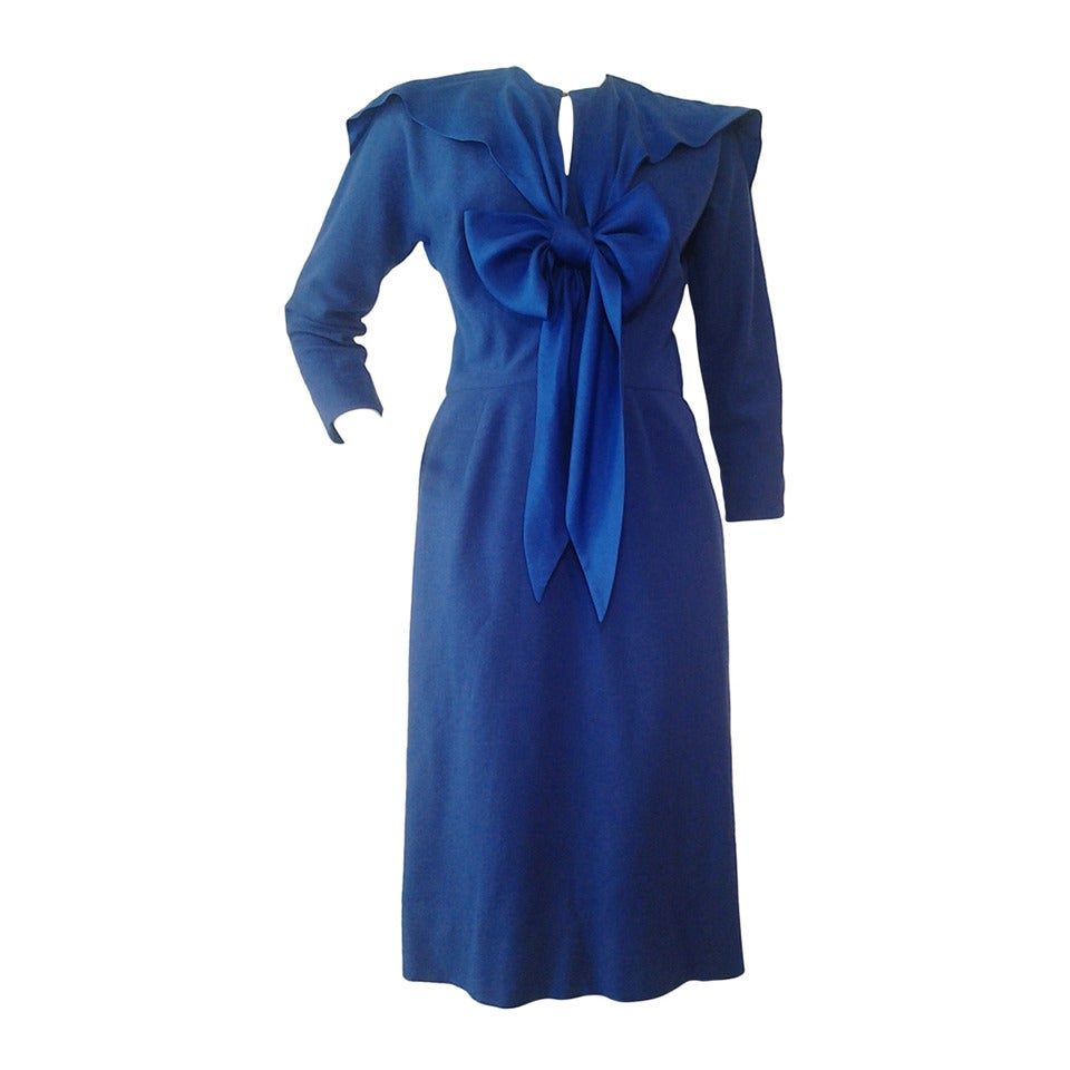 1940s Important Claire McCardell Cobalt Wool and Silk Dress