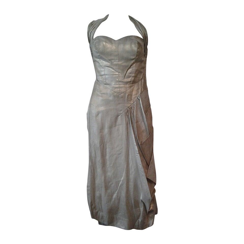 1940s Silver Metal Lame Halter Dress w/ Sarong Draping 1